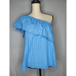 Beltaine One Shoulder Blue Peasant Top